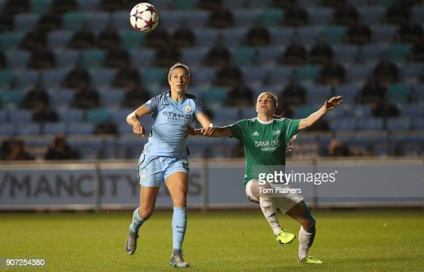 Manchester City Women v Fortuna Hjorring Women UEFA Women's Champions League Quarter Final Second Leg Academy Stadium Manchester City's Carli Lloyd...