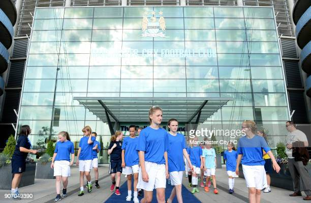 FAWSL Manchester City Women v Notts County Ladies Manchester Regional Arena Young players outside the Etihad Stadium after taking part in the...