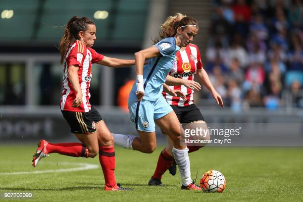 Manchester City Women v Sunderland AFC Ladies The FA Women's Super League Academy Stadium Manchester City Women's Jill Scott takes on the defence of...