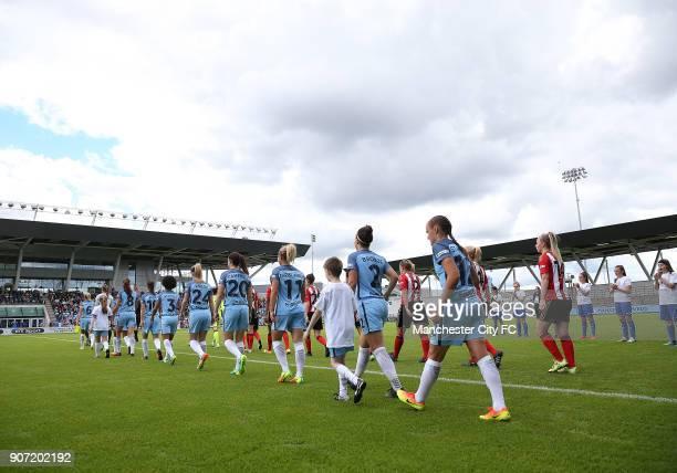 Manchester City Women v Sunderland AFC Ladies The FA Women's Super League Academy Stadium Manchester City Women's and Sunderland Ladies' players make...