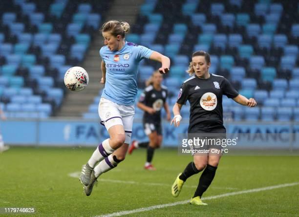 Manchester City Women's Ellen White and Birmingham City Women's Harriet Scott during the FA Women's Continental League Cup between Manchester City...