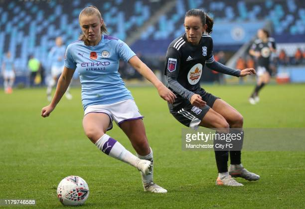 Manchester City Womens Georgia Stanway and Birmingham City Womens Lucy Staniforth during the FA Women's Continental League Cup on November 3 2019 in...
