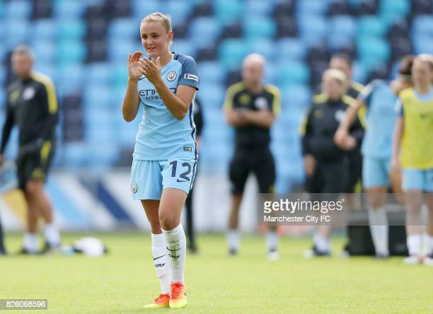 Manchester City Women's Georgia Stanway applauds the crowd at the end of the game against Sunderland Ladies