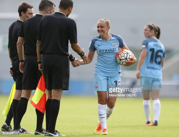 Manchester City Women's goal scorer Georgia Stanway collects the match ball from the match officials after her hattick against Sunderland Ladies