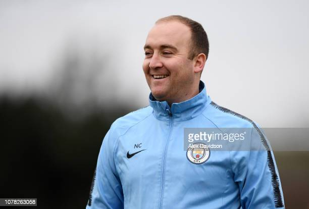 Manchester City Women's manager Nick Cushing looks on during the FA Women's Super League match between Bristol City Women and Manchester City Women...