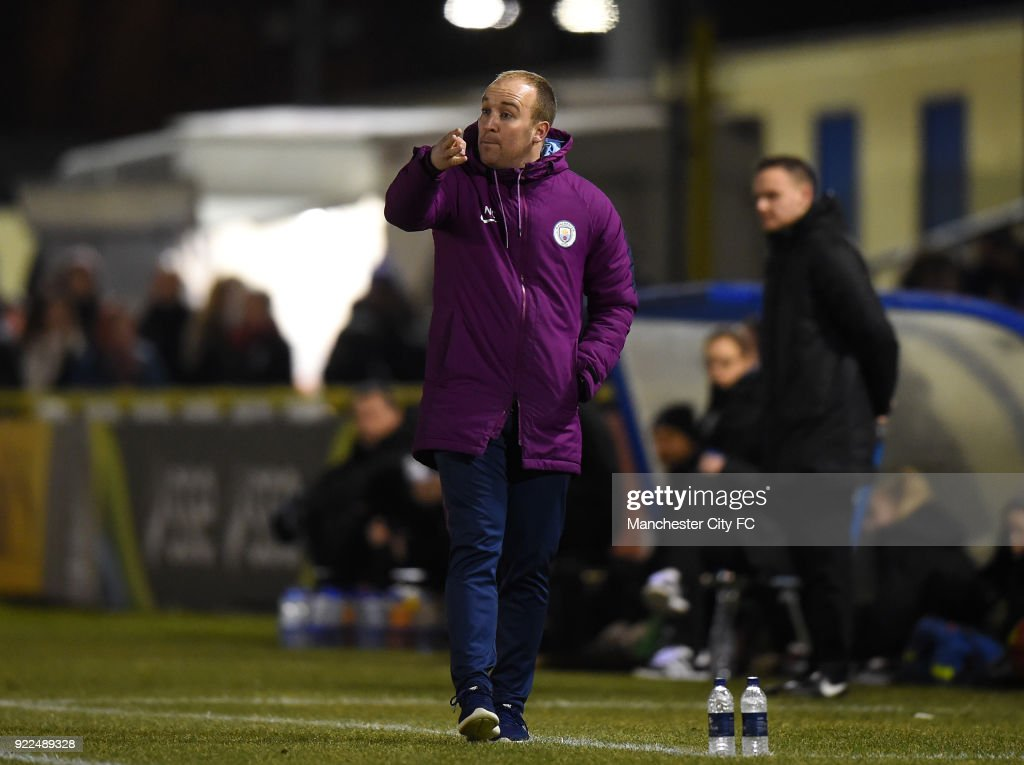 Manchester City Women's Manager Nick Cushing on the touch line during the WSL match between Birmingham City Ladies and Manchester City Women at Damson Park on February 21, 2018 in Solihull, England.
