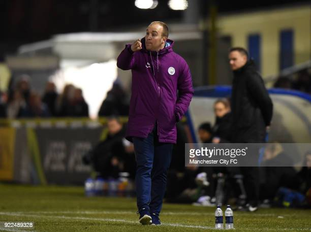 Manchester City Women's Manager Nick Cushing on the touch line during the WSL match between Birmingham City Ladies and Manchester City Women at...
