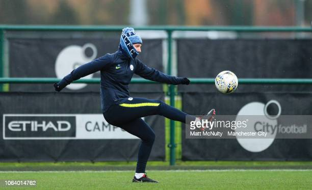 Manchester City's Abbie McManus controls the ball during the training session at Manchester City Football Academy on November 20 2018 in Manchester...