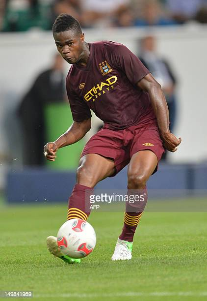 Manchester City's Abdul Razak plays the ball during the preseason friendly football match between VfL Wolfsburg and Manchester City in the northern...