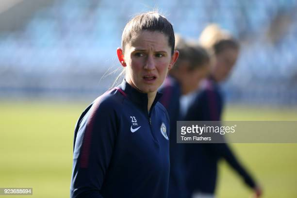 Manchester City's Abi McManus ahead of the WSL 1 match between Manchester City Women and Chelsea Ladies at Manchester City Football Academy on...