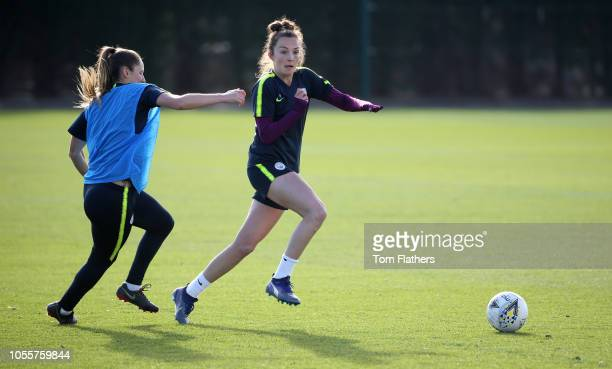 Manchester City's Abi McManus and Caroline Weir in action during training at Manchester City Football Academy on October 31 2018 in Manchester England