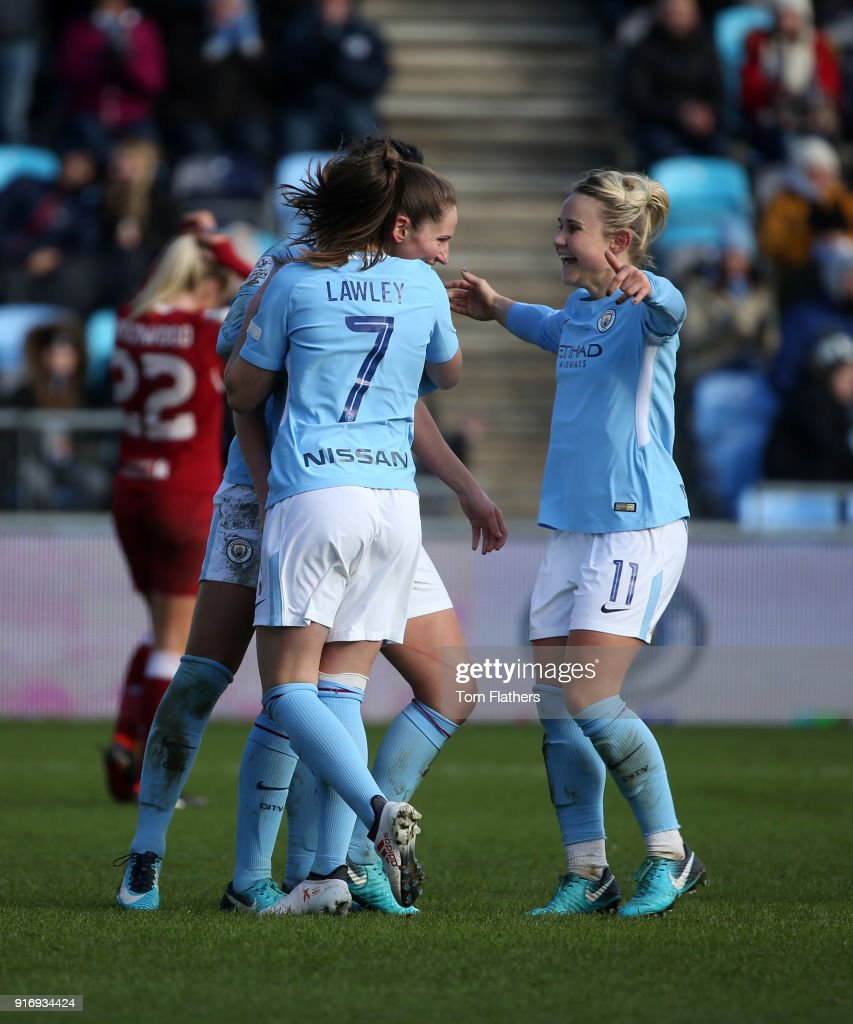 Manchester City's Abi McManus celebrates scoring to make it 4-0 with her teammates at the Academy Stadium during the FA WSL 1 match between Manchester City Women and Liverpool Ladies on February 11, 2018 in Manchester, England.