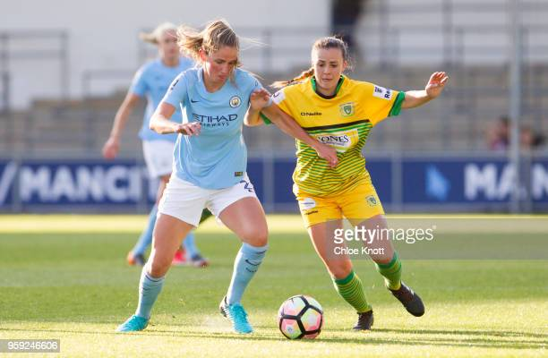 Manchester City's Abi McManus in action during the FA WSL match between Manchester City Women and Yeovil Town Ladies at The Academy Stadium on May 16...