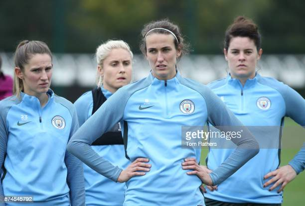 Manchester City's Abi McManus Steph Houghton Jill Scott and Jennifer Beatie during training at Manchester City Football Academy on November 15 2017...