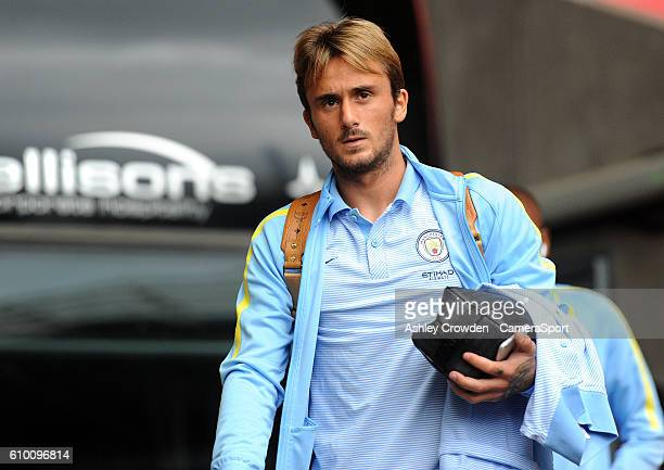 Manchester City's Aleix Garcia arrives at the liberty stadium during the Premier League match between Swansea City and Manchester City at Liberty...