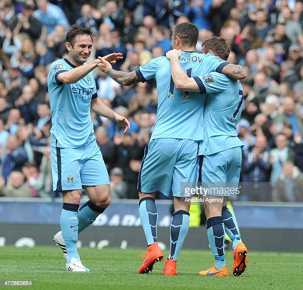 Manchester City's Aleksandar Kolarov celebrates scoring his teams second goal with Frank Lampard and David Silva during the English Premier League...