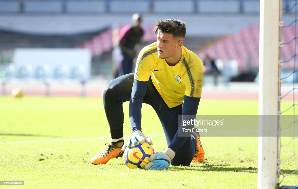 Manchester City's Are Muric during training at Stadio San Paolo on November 2, 2017 in Naples, Italy.