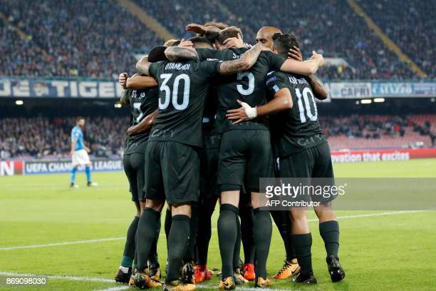 Manchester City's Argentinian defender Nicolas Otamendi celebrates with teammates after scoring during the UEFA Champions League football match...