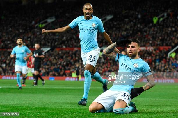 Manchester City's Argentinian defender Nicolas Otamendi celebrates scoring their second goal during the English Premier League football match between...