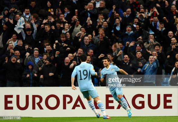 Manchester City's Argentinian forward Sergio Aguero celebrates scoring after 16 seconds during the UEFA Europa League Round of 32 second leg football...