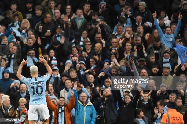 TOPSHOT Manchester City's Argentinian striker Sergio Aguero celebrates after scoring their second goal during the English Premier League football...