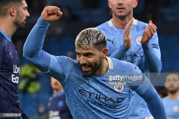 Manchester City's Argentinian striker Sergio Aguero celebrates after he scores his team's second goal during the UEFA Champions League 1st round day...