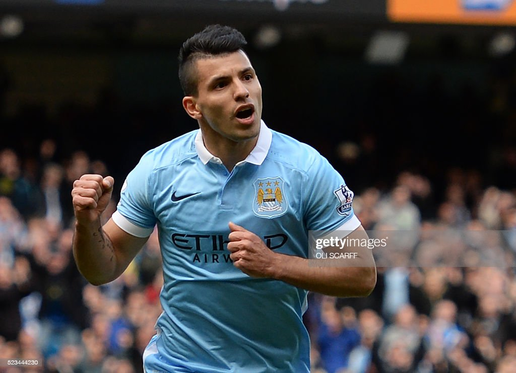 Manchester City's Argentinian striker Sergio Aguero celebrates after scoring their second goal from the penalty spot during the English Premier League football match between Manchester City and Stoke at the Etihad Stadium in Manchester, north west England, on April 23, 2016. / AFP / OLI SCARFF / RESTRICTED TO EDITORIAL USE. No use with unauthorized audio, video, data, fixture lists, club/league logos or 'live' services. Online in-match use limited to 75 images, no video emulation. No use in betting, games or single club/league/player publications. /