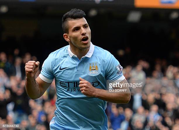 Manchester City's Argentinian striker Sergio Aguero celebrates after scoring their second goal from the penalty spot during the English Premier...