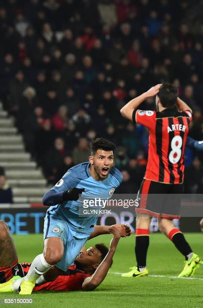 Manchester City's Argentinian striker Sergio Aguero celebrates after scoring their second goal during the English Premier League football match...