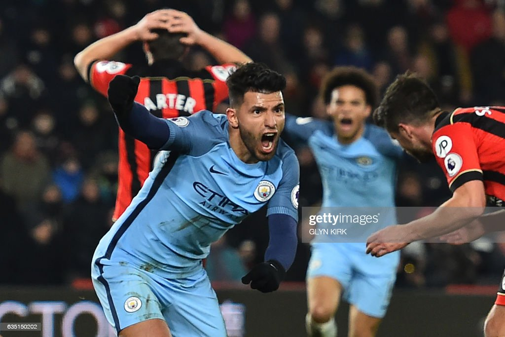 Manchester City's Argentinian striker Sergio Aguero celebrates after scoring their second goal during the English Premier League football match between Bournemouth and Manchester City at the Vitality Stadium in Bournemouth, southern England on February 13, 2017. / AFP / Glyn KIRK / RESTRICTED TO EDITORIAL USE. No use with unauthorized audio, video, data, fixture lists, club/league logos or 'live' services. Online in-match use limited to 75 images, no video emulation. No use in betting, games or single club/league/player publications. /