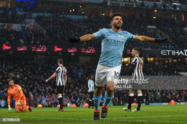 Manchester City's Argentinian striker Sergio Aguero celebrates after scoring the opening goal of the English Premier League football match between...