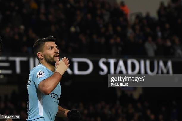 Manchester City's Argentinian striker Sergio Aguero celebrates after scoring their fourth goal his third during the English Premier League football...