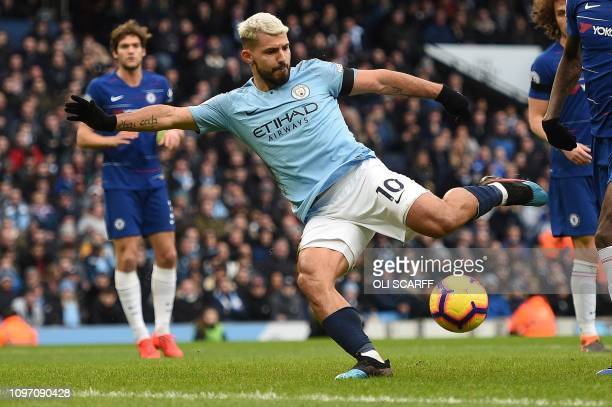 Manchester City's Argentinian striker Sergio Aguero celebrates scoring his team's third goal during the English Premier League football match between...