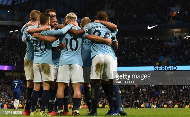 Manchester City's Argentinian striker Sergio Aguero celebrates scoring his team's fifth goal his third from the penalty spot during the English...