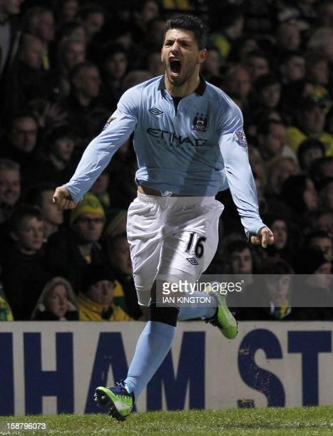 Manchester City's Argentinian striker Sergio Aguero celebrates scoring his team's third goal during the English Premier League football match between...