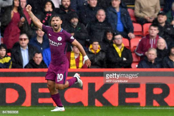 Manchester City's Argentinian striker Sergio Aguero celebrates scoring the team's second goal during the English Premier League football match...