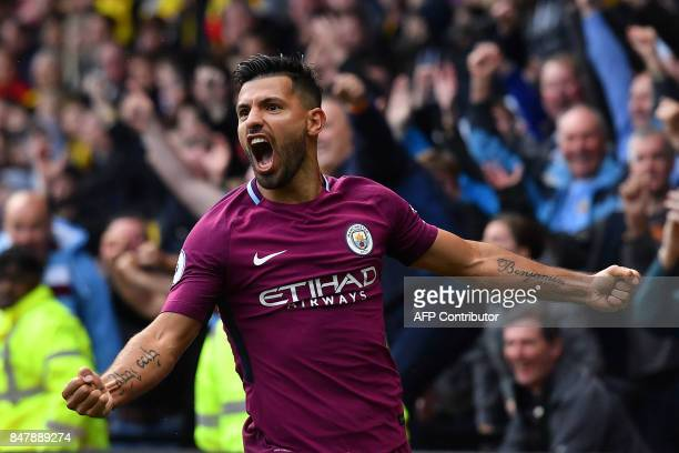TOPSHOT Manchester City's Argentinian striker Sergio Aguero celebrates scoring his third and the team's fifth goal during the English Premier League...