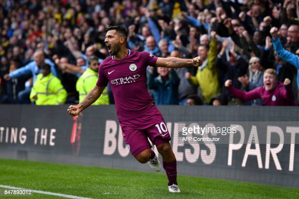 Manchester City's Argentinian striker Sergio Aguero celebrates scoring his third and the team's fifth goal during the English Premier League football...