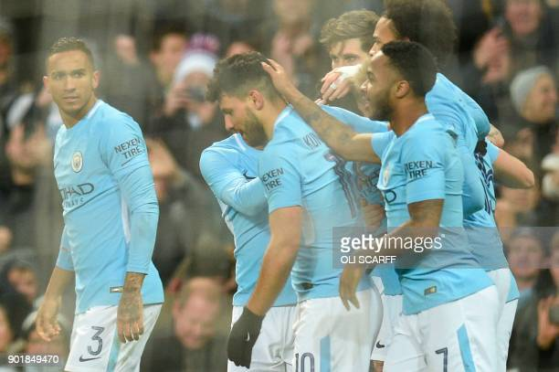 Manchester City's Argentinian striker Sergio Aguero celebrates scoring their second goal during the English FA Cup third round football match between...