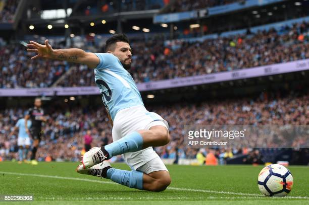 Manchester City's Argentinian striker Sergio Aguero chases the ball during the English Premier League football match between Manchester City and...