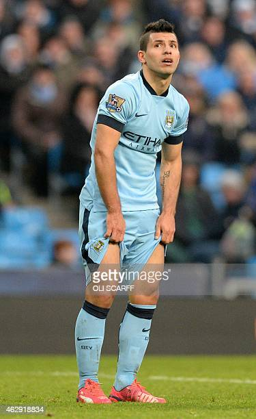 Manchester City's Argentinian striker Sergio Aguero reacts during the English Premier League football match between Manchester City and Hull City at...