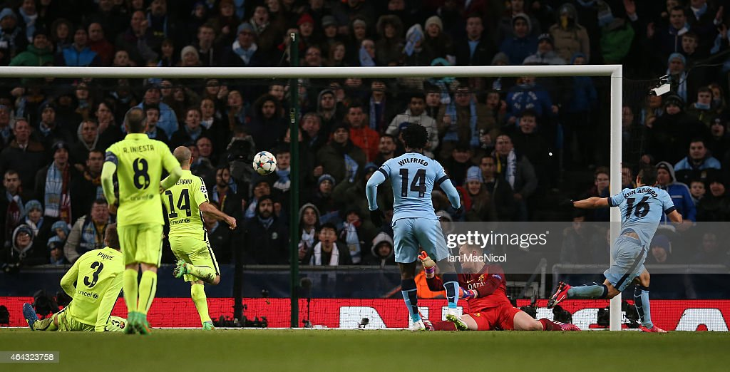 Manchester City's Argentinian striker Sergio Aguero scores during the UEFA Champions League Round of 16 football match between Manchester City and Barcelona at The Etihad Stadium on February 24, 2015 in Manchester, England.