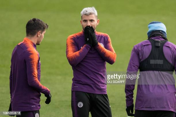 Manchester City's Argentinian striker Sergio Aguero takes part in a team training session at City Football Academy in Manchester north west England...
