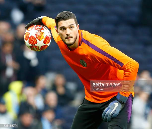 Manchester City's Arijanet Muric during the prematch warmup during UEFA Championship League Quarter Final between Tottenham Hotspur and Manchester...