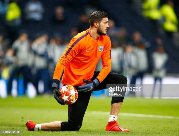 Manchester City's Arijanet Muric during UEFA Championship League Quarter Final between Tottenham Hotspur and Manchester City at Tottenham Hotspur...