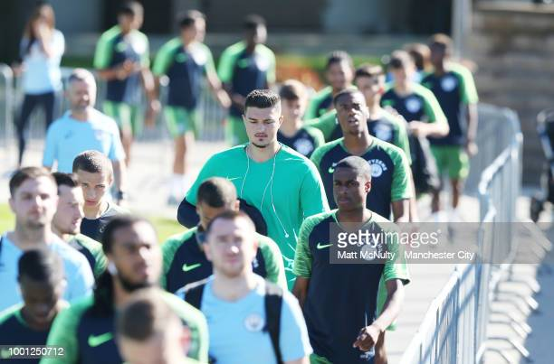 Manchester City's Aro Muric arrives at training at University of Illinois on July 18 2018 in Chicago Illinois