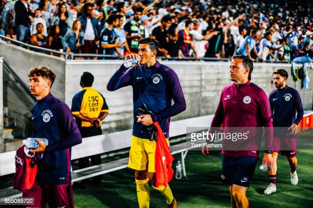 Manchester City's Aro Muric at the Los Angeles Memorial Coliseum on July 26 2017 in Los Angeles California
