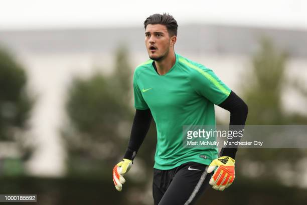 Manchester City's Aro Muric during training at Manchester City Football Academy on July 16 2018 in Manchester England