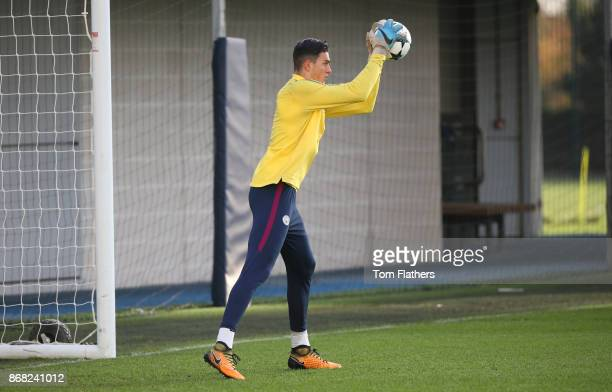 Manchester City's Aro Muric during training at Manchester City Football Academy on October 30 2017 in Manchester England