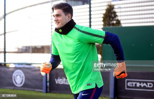 Manchester City's Aro Muric during training at Manchester City Football Academy on February 20 2018 in Manchester England